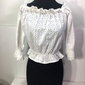 Dividend H&M NWT White Eyelet Lace Crop Top Size 6